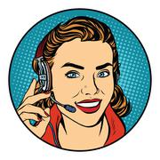 Woman customer support operator - stock illustration