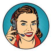 Woman customer support operator Stock Illustration