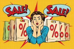 Pop art surprised woman sales discounts, the buyer - stock illustration