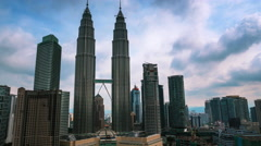 Iconic panoramic view over Kuala Lumpur downtown district with modern buildings Stock Footage