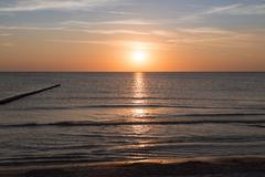 ocean landscape with sunset for backgrounds - stock photo