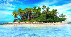 Idyllic tropical nature landscape. Small island with palmtrees in the sea  - stock footage