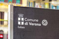 Comune di Verona sign in the city center - VERONA, ITALY - JUNE 30, 2016 - stock photo