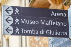 Direction signs in the historic city center of Verona - stock photo