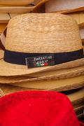Fiorentino hats on sale at street market in Verona - stock photo