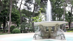 Famous fountain of the four horses in Rimini Stock Footage