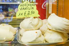 Sweet sugar cookies Meringhe for sale in Venice - VENICE, ITALY - JUNE 29, 20 - stock photo