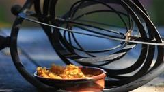 Chickadee eats despite an astrolabe barrier Stock Footage