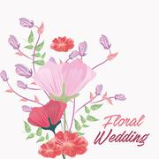 Drawing flower icon. Floral wedding design. Vector graphic - stock illustration
