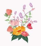 Drawing flower icon. Floral wedding design. Vector graphic Stock Illustration