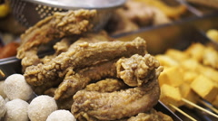 Taiwanese fried chicken and everything shop. famous street food of Taiwan - stock footage