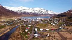 Aerial Of Town In Seyðisfjörður Iceland Stock Footage