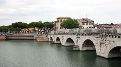 Old Tiberius bridge Rimini Italy Stock Footage