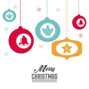 Sphere and bell icon. Merry Christmas design. Vector graphic Stock Illustration
