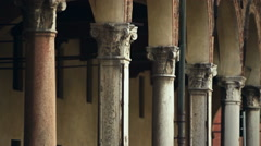 An ancient colonnade in Italy Stock Footage