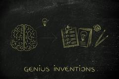 Brain with idea to write down on paper, genius inventions Stock Illustration