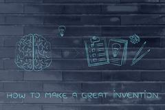 brain with idea to write down on paper, how to make a great invention - stock illustration
