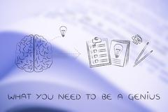 brain with idea to write down on paper, what you need to be a genius - stock illustration