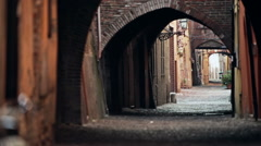 An alley in a medieval area of an italian town Stock Footage