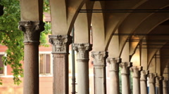 pan shot of antique colonnade - stock footage