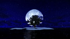 Solitary island and tree surrounded by ocean against full moon, snowing Stock Footage