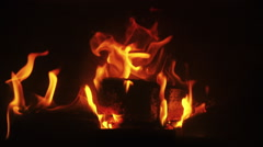 Burning, fire in fireplace with wood coal Stock Footage