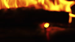 burning, fire in fireplace with wood coal - stock footage