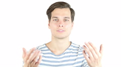 Man welcomes people - man invites people with hands Stock Footage
