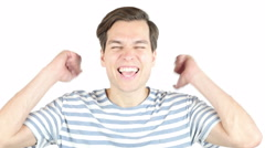 Closeup portrait excited energetic happy, screaming student, man winning, Stock Footage