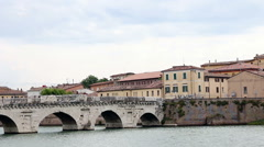 Tiberius bridge Rimini cityscape Stock Footage