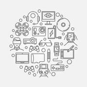 Gadgets round concept illustration Stock Illustration