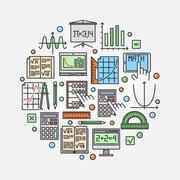 Math round illustration - stock illustration