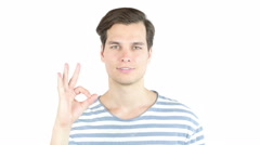 Business, people, vision and success concept - happy man  showing ok sign Stock Footage