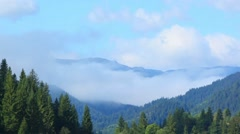 Fog over the mountains, the Carpathians. Ukraine Stock Footage