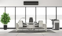Black and white minimalist office - stock illustration