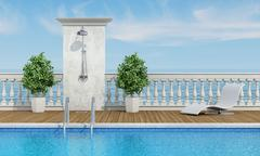 Pool near the sea with shower - stock illustration