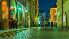 Warsaw Old Town Street Night Timelapse Warszawa Stare Miasto Stock Footage