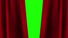 Opening and closing red curtain front of green screen. theater stage cinema intr Stock Footage