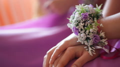 Bridesmaids with boutonniere buttonhole at wedding day Stock Footage