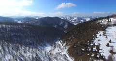 Wonderful aerial panoramic view of the snowy Altai mountains. Stock Footage