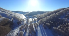 Beautiful aerial view of the snowy Altai mountains. - stock footage
