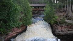 Lower Amnicon Falls, Amnicon State Park, Wisconsin Stock Footage