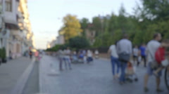 The crowd street on the city. Blur background. Wide angle. Real time capture Stock Footage