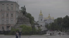 The Center Of Kiev. The Monument To Bogdan Khmelnitsky. Kiev (Kyiv) . Ukraine. Stock Footage