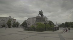 A Symbol Of Ukraine. The Center Of Kiev. The Monument To Bogdan Khmelnitsky. Stock Footage