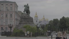 Sophia square. Monument to Hetman Bogdan Khmelnitsky in Kiev (Kyiv) . Ukraine Stock Footage