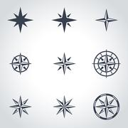 Vector black  wind rose icon set Stock Illustration