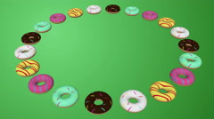 Rotation of 3d ring of colorful donuts over green screen, food Background seamle Stock Footage