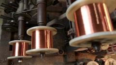 Production of copper wire. Close up Stock Footage