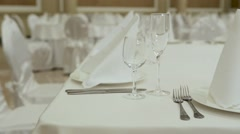 Table setting for great celebration close up. Horizontal pan Stock Footage